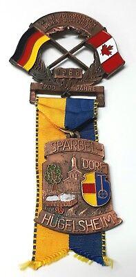 1988 German Hiking Ornate Medal Canadian 12 Int  Volksmarch Baden Soellingen Vtg