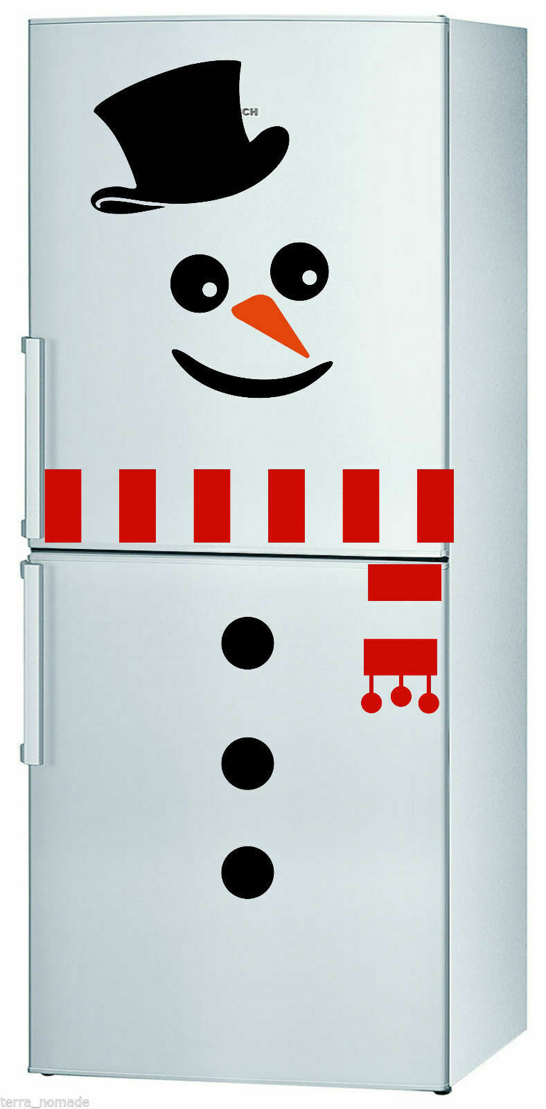 Home Decoration - Christmas DIY Snowman Refrigerator Wall Sticker Festival Home Door Decoration