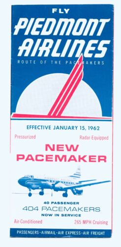 Piedmont Airlines - Timetable Jan. 15, 1962 Inaugural Martin 404 Pacemaker DC-3