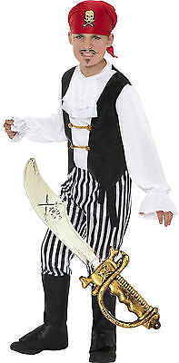 Boys Pirate Captain Hook Kids Book Week Day Fancy Dress Costume Outfit + TOY