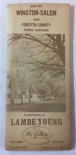 vintage Lambe Young MAP OF WINSTON-SALEM AND FORSYTH COUNTY North Carolina
