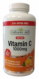 Natures Aid Vitamin C 1000mg Low Acid (Rosehips & Citrus Bioflavonoids) 240 Tabs