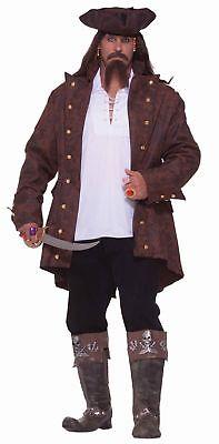 Plus Size Pirate Shirt (Pirate Jacket Costume with Shirt Buccaneer Captain Coat Men Xxxl 3xl Plus)