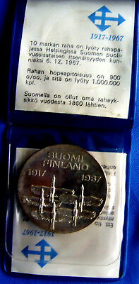 Finland 1985 10 Mk Silver Coin   Finland 50 Yr Independence Original Bank Issue