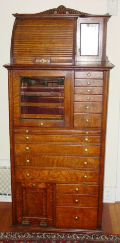 Antique Quartered oak Harvard multi drawer dental cabinet----15604