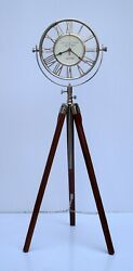 Vintage brass nautical floor oxford clock with wooden tripod stand home decor