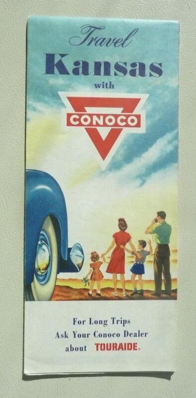 1958 Kansas  road map Conoco oil gas Salina Hutchenson St. Joseph City