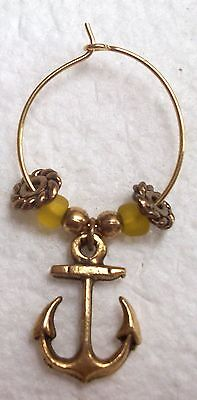 Individual Vintage Nautical Ship Boat Anchor Wine Glass Drink Marker Charm Ring