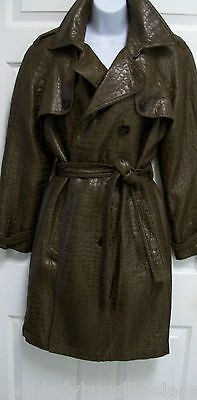 Belted Textured Wool Blend - MYCRA PAC BROWN SHIMMERY CROCO TEXTURED WOOL BLEND BELTED TRENCH COAT JACKET P