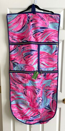 NWT NEW LILLY PULITZER GWP GARMENT BAG DRAGONFRUIT PINK OH MY GUAVA NAVY GOLD