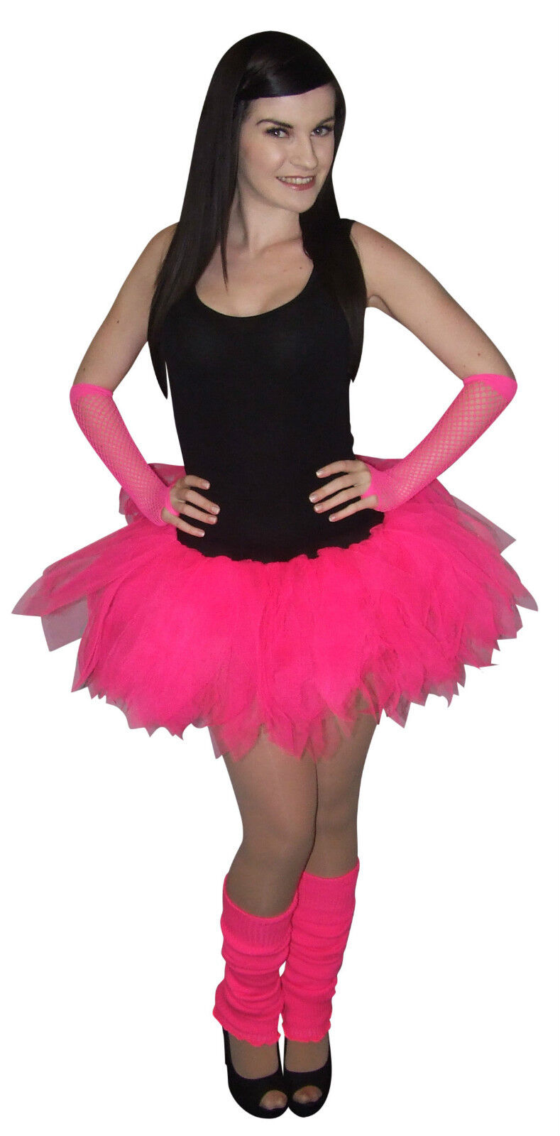 Neon Pink Tutu Skirt 80s Fancy Dress Hen Party Fun Run