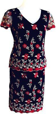 Vintage Carole Little Black Mesh Skirt & Top Set w/ Floral Embroidery - Sz 4