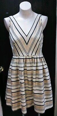 Tan Gold Flare (NWT J CREW V-Neck Fit Flare Metallic Dress Size 6  Gold Tan Stripes RT $138)