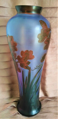 GALLE SIGNED VASE ART NOUVEAU INSPIRED BLUE GLASS ACID ETCHED EMBOSSED CAMEO 14""