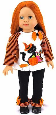 Halloween Shirt with Cat  & Legging Costume fits 18