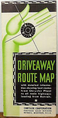1930's Chrysler Detroit Michigan vintage Driveaway Route Map brochure b