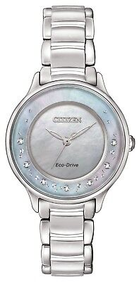 Citizen Eco-Drive Women's EM0380-81N Circle of Time Silver-Tone Watch