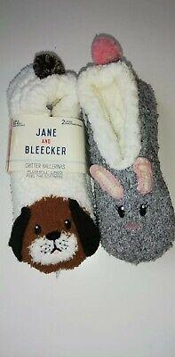 Jane & Bleecker Ladies' Critter Sock, 2-pair, non skid slipper socks Dog & Bunny