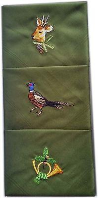 Hochwertige Herren Taschentücher mit Jagdmotiv bestickt Schnupftuch Schneuztuch