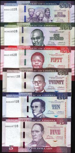 Liberia 6 Pcs SET,5 10 20 50 100 500 Dollars,2016 2017, UNC, P-31-32-33-34-35-36