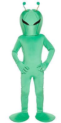Kids Green Alien Dressing Up Costume Boys Space Martian Fancy Dress Age 4-12 Yrs - Green Martian Costume