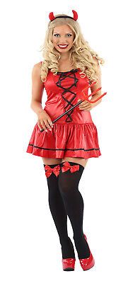 LADIES SEXY LITTLE MISS RED DEVIL FANCY DRESS HALLOWEEN OUTFIT COSTUME WOMENS - Little Red Devil Halloween Costume