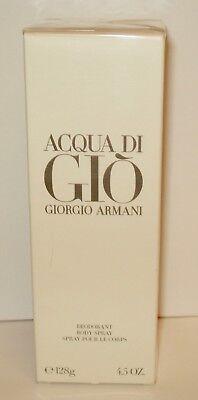 Giorgio Armani ~ Acqua Di Gio  Deodorant Body Spray  4.5 oz/128 g Sealed box Acqua Di Gio Body Spray