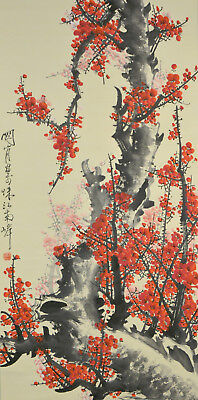 Vintage Chinese Watercolor FLOWER Wall Hanging Scroll Painting aftr Guan Shanyue - Painting Scroll Wall Hanging Flower