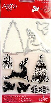 Christmas Deer Tree   Dove Clear Stamp And Die Set By Momenta Art C 25270 New
