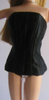 TOP BLACK SATIN BUSTIER CLOSURE ON BACK MATTEL BARBIE DOLL SOCIETY GIRL CLOTHIN