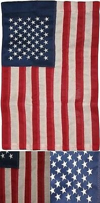 "12""x18"" Embroidered American 50 Star 210D Nylon Garden Flag Sleeved Pole"
