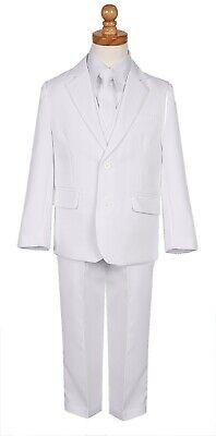 Boys slim fit suit white formal easter baptism complete set long tie vest pant