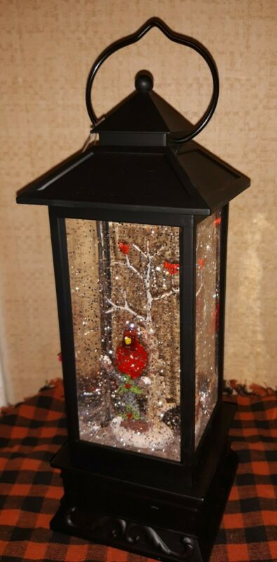 Red Bird🌷3 Cardinal Light  Swirl Glitter Lantern Water Globe NEW Christmas Snow