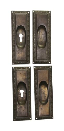 Set of Traditional Brass Plated Steel Pocket Door Plates