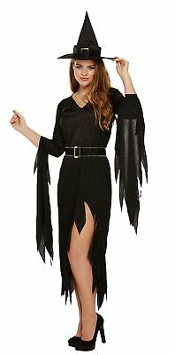 Ladies Black Spooky Gothic Witch Halloween Fancy Dress Costume