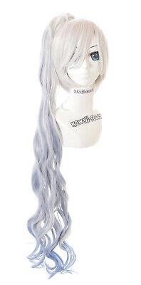 CS-182A Weiss Schnee RWBY grau blau Locken Zopf 100cm Lolita COSPLAY Perücke Wig