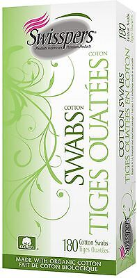 Swisspers Cotton Organic Swabs Wooden Sticks 180 ea (Pack of 9)