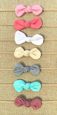 Nylon Knot Headbands Lot of 7 Headbands for Baby Girls knot attached