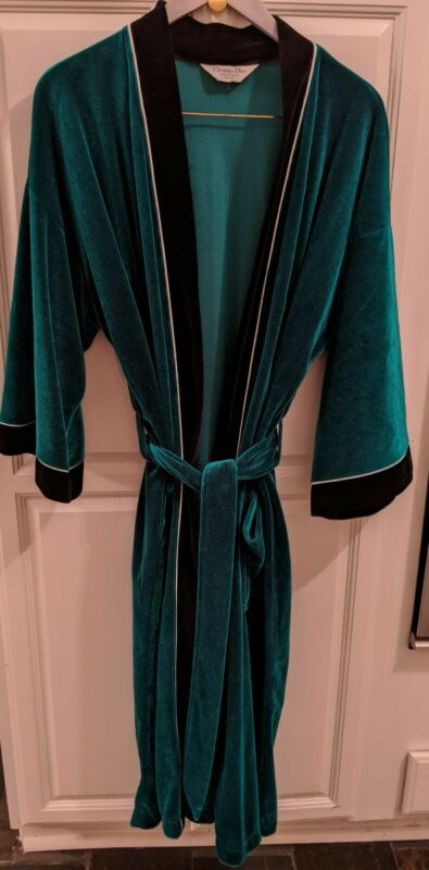 Christian Dior Monsieur Smoking Robe Emerald Green Black Trim OS Bathrobe