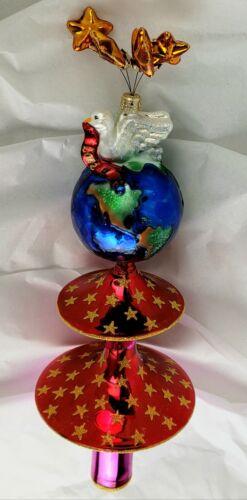 """Christopher Radko """"Splendor of Peace"""" 2002 Finial Glass Tree Topper"""