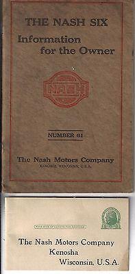 1920 NASH SIX, ORIGINAL OWNERS MANUAL, 6 CYLINDERS