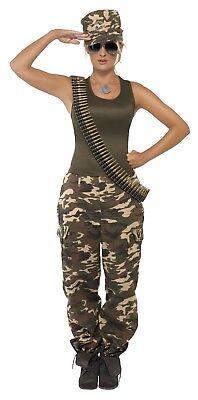Women's Deluxe Army Khaki GI Jane Camo Fancy Dress Costume Hen Fun Theme Night - Gi Jane Kostüm
