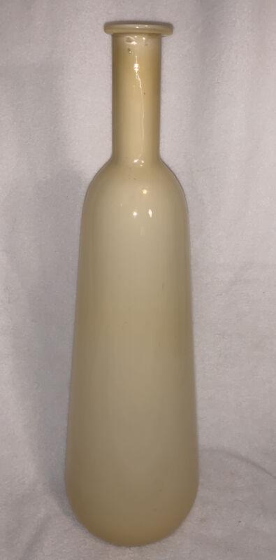 """Vintage Mid Century Possibly Kastrup Holmegaard ? Bottle Vase 18"""" Light Yellow"""