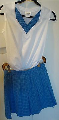 Marcia top & matching tennis skirt,white w/ blue plaid.sleeveless.Gr8 condition