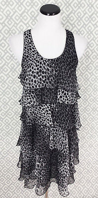 Womens Black Gray Leopard Print Sleeveless Tiered Flapper Dress Size Medium M - Grey Flapper Dress