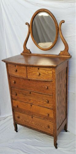 Vintage Oak American Highboy Dresser Chest with Mirror Circa 1900