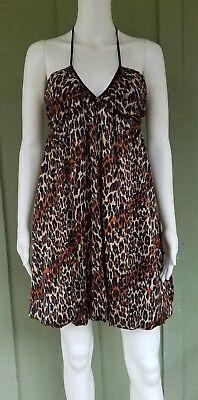 BETSEY JOHNSTON Leopard Print Silk Charmeuse Bubble Halter Dress -