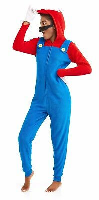 Neu Erwachsene Damen Super Mario Einteiler Schlafanzug Kostüm Union Anzug Xs S - Einteiler Schlafanzug Kostüm