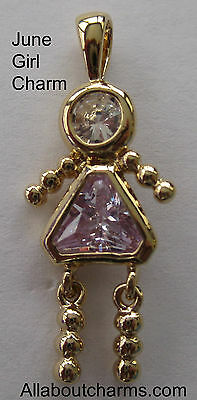 24K GOLD JUNE GIRL BIRTHSTONE BRAT / BABY KID - June Girls Charm