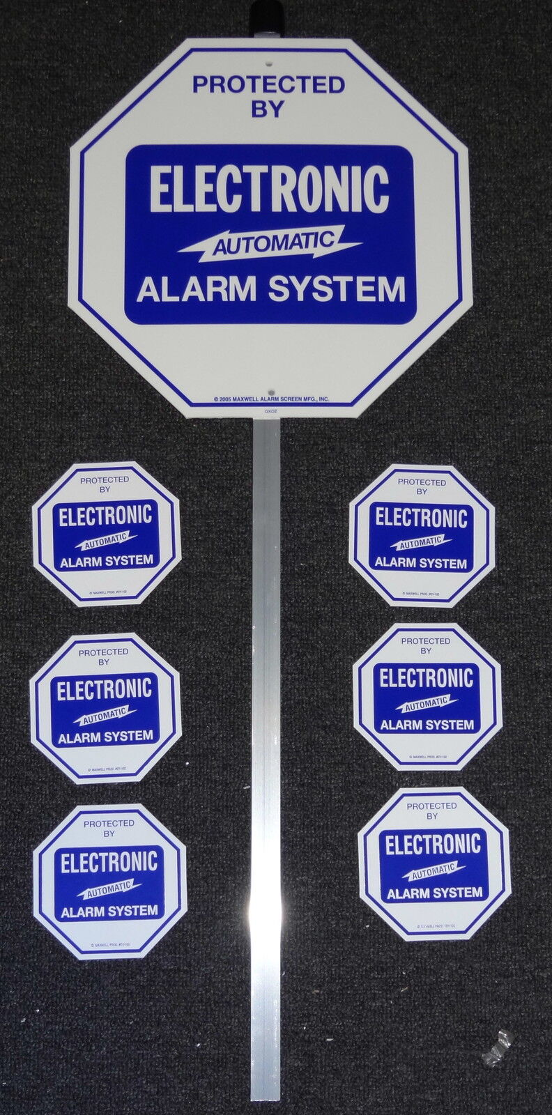Security System Alarm Yard Lawn Sign & Stake With 6 Door Window Stickers Adt